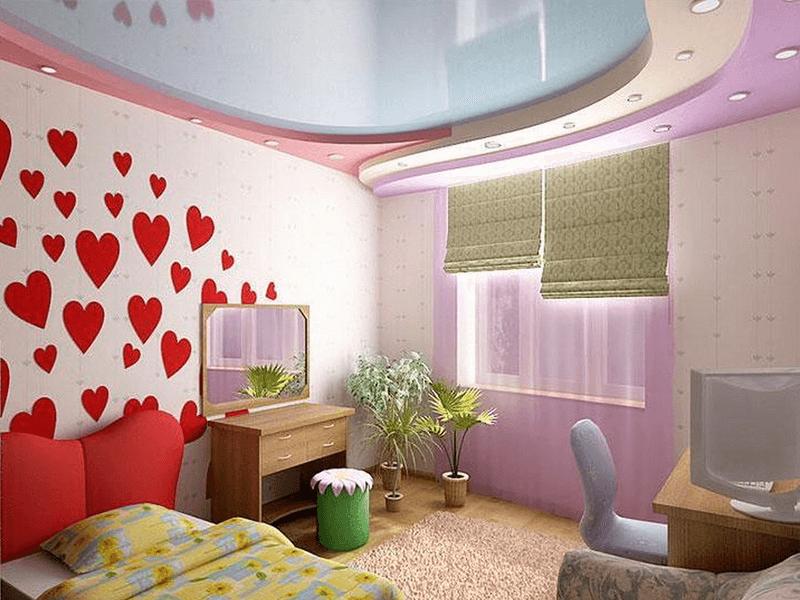 Дизайн простых потолков в детской спальне